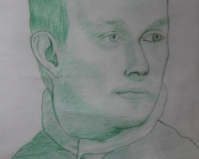 Portrait d'homme vert en dessin traditionnel